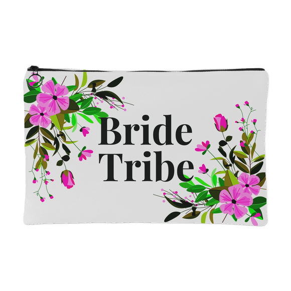 Bride Tribe Pink Flower Spray Zippered Accessory Pouch 8