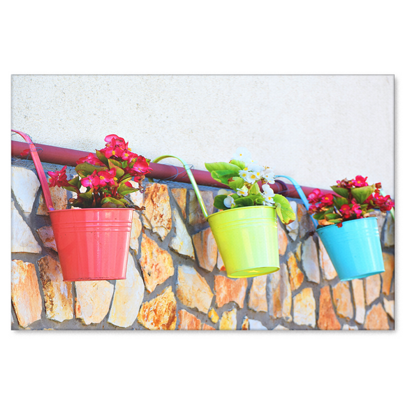 Colorful Flower Pots Canvas Wall Art - Bring the Summer In - 4 sizes; 8x12, 16x24, 20x30, 24x36