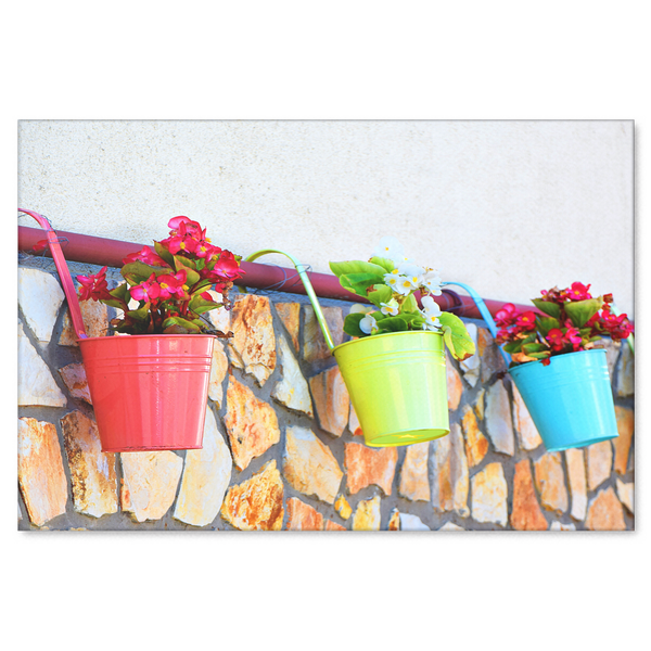 Colorful Flower Pots Canvas Wall Art - Bring the Summer In - 4 sizes; 8x12, 16x24, 20x30, 24x36 - Mind Body Spirit