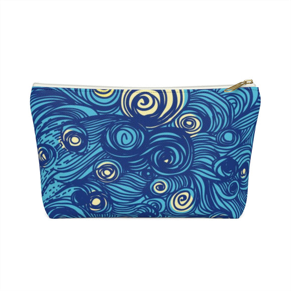 Zola Blue Swirl Abstract Accessory Pouch T-bottom, 2 Sizes