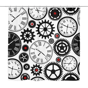 Clocks and Gears Shower Curtain 70 x 70, Black, White and Red Accents - Mind Body Spirit