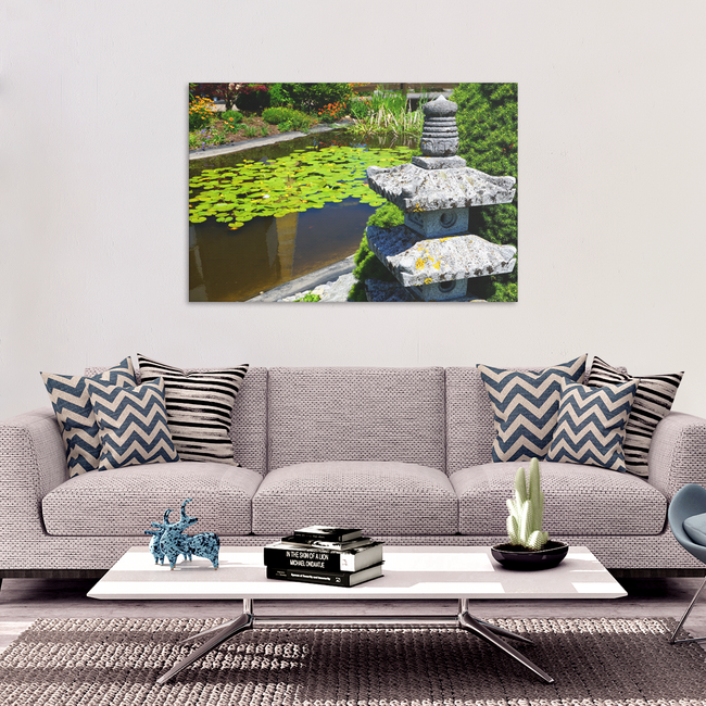 Temple Garden Pagoda Canvas Wall Art - Peaceful Garden With Floating Lily Pads in 4 Sizes - Mind Body Spirit