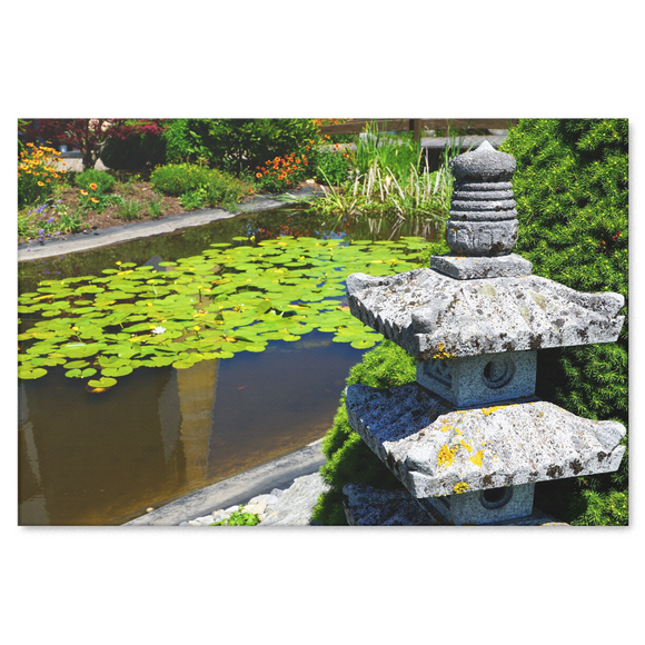 Temple Garden Pagoda Canvas Wall Art - Peaceful Garden With Floating Lily Pads in 4 Sizes