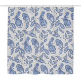 Kara - Blue Paisley Shower Curtain 70 x 70 in White, Yellow, Turquoise & Grey - Mind Body Spirit