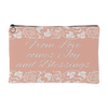 'Calla' Peach Love, Joy, Blessings Custom Designed Accessory Pouch, 2 sizes - Mind Body Spirit
