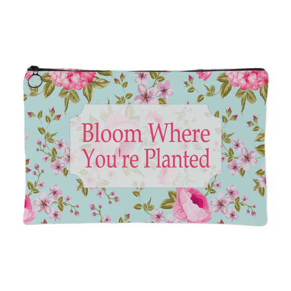 Bloom Where You're Planted Vintage Zippered Accessory Pouch - Small 8 x 5, Large 8 x 12