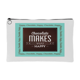 Chocolate Makes You Happy Zippered Accessory Pouch - In 2 Sizes