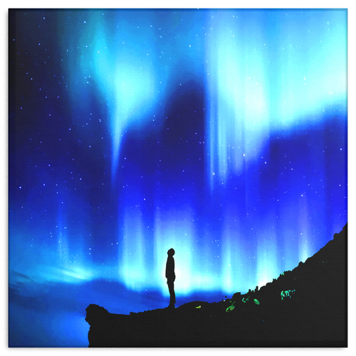 Blue Night Aurora Fine Art Canvas - Aurora Borealis in Night Sky in 4 Square Sizes, - Mind Body Spirit