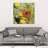 Brilliant Orange Butterfly on Yellow Flowers Canvas Wall Art in 4 Sizes; 8x8, 16x16, 24x24, 40x40
