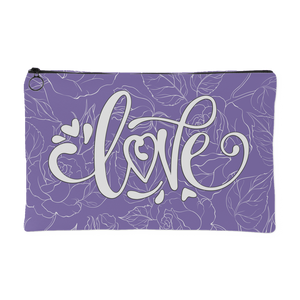 Love and Roses Custom Design Accessory Pouch Periwinkle, 2 Sizes - Mind Body Spirit