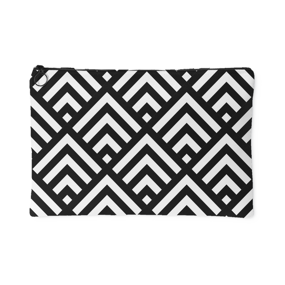'Deana' Diamond Deco Custom Design Accessory Pouch, 2 Sizes Black - Mind Body Spirit