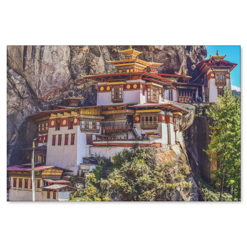 Monastery Tigers Nest Canvas Wall Art - Stunning Bhutan Monastery Perched On A Rock Wall in 4 Sizes - Mind Body Spirit
