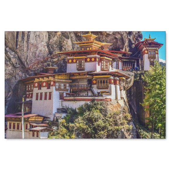 Monastery Tigers Nest Canvas Wall Art - Stunning Bhutan Monastery Perched On A Rock Wall in 4 Sizes