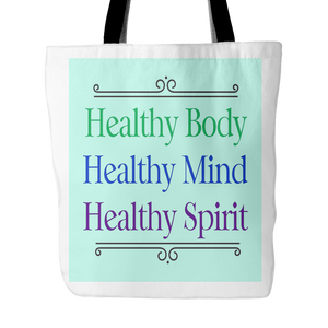 """Healthy"" Book/Tote Bag - Turquoise/White"