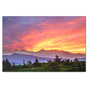 Mountain Sunset Canvas Art - Striking Colorful Fine Art in 4 Sizes; 8x12, 16x24, 20x30, 24x36, - Mind Body Spirit