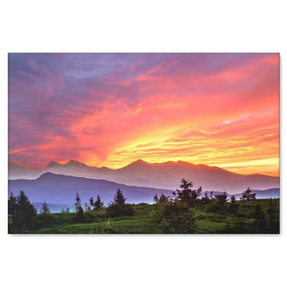 Mountain Sunset Canvas Art - Striking Colorful Fine Art in 4 Sizes; 8x12, 16x24, 20x30, 24x36,