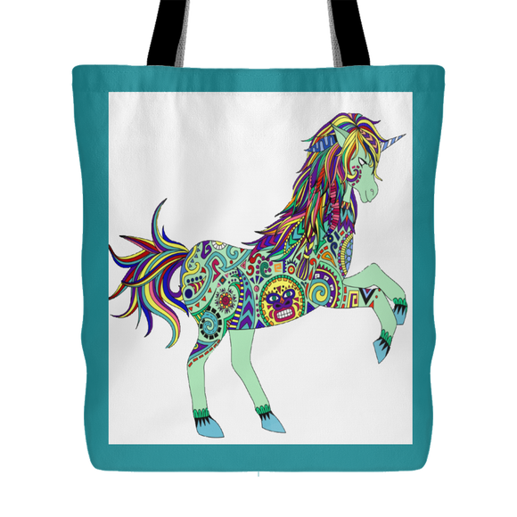 Boho Unicorn Tote Bag, Shopping Bag, Beach Bag 18 x 18 - 3 Colors