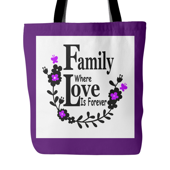 Family Love Forever Tote Bag 18 x18 - Purple