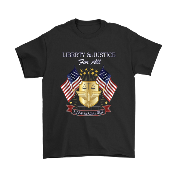 Liberty and Justice For All, T-Shirt, Mens Tee, 7 Colors, 6 Sizes, Shirt, Casual Shirt, Unisex, Pre-shrunk Cotton, - Mind Body Spirit