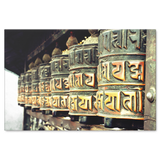 Tibetan Prayer Wheels Canvas Wall Art - Amazing Image of Well Used Tibetan Prayer Wheels in 4 Sizes - Mind Body Spirit