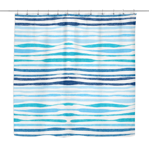 Ocean Stripe Shower Curtain 70 x 70 - Mind Body Spirit