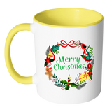 Merry Christmas Wreath Ceramic Mug 11 oz with Color Glazed Interior in 7 Colors, Coffee Mugs
