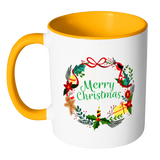 Merry Christmas Wreath Ceramic Mug 11 oz with Color Glazed Interior in 7 Colors, Coffee Mugs - Mind Body Spirit