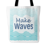 Make Waves Nautical Look Tote Bag 18 x 18 - White - Mind Body Spirit