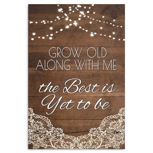 Grow Old With Me Wood, Lace and Lights Canvas Wall Art, Multiple Sizes - Mind Body Spirit