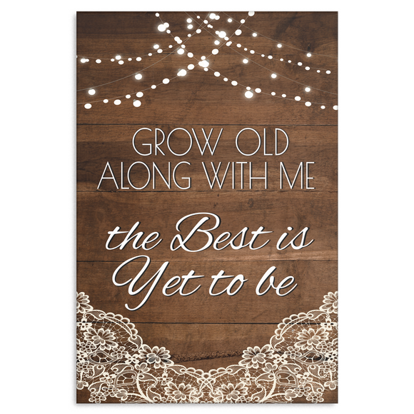 Grow Old With Me Wood, Lace and Lights Canvas Wall Art, Multiple Sizes