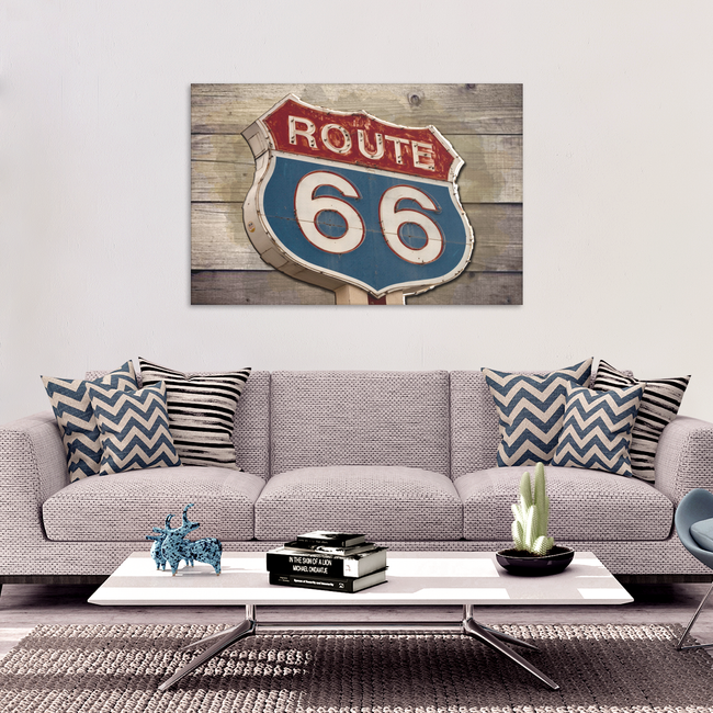 Rustic Vintage Route 66 Sign on Wood Canvas Art Decor in 4 Sizes - Mind Body Spirit