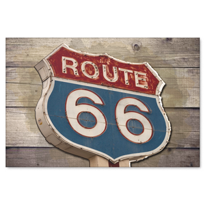 Rustic Vintage Route 66 Sign on Wood Canvas Art Decor in 4 Sizes