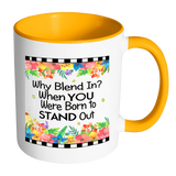 Why Blend In Ceramic Mug 11 oz with Color Glazed Interior in 7 Colors, Coffee Mugs