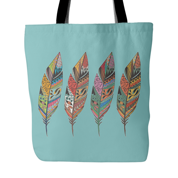 Four Feathers Tote Bag - Teal