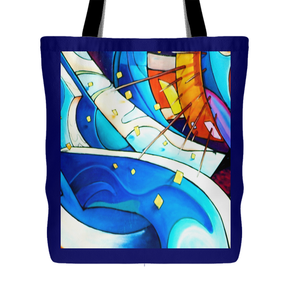 Flowing Colors Abstract Urban Art Design Tote Bag 18 x 18 - Mind Body Spirit