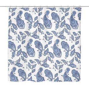 Kara - Blue Paisley Shower Curtain 70 x 70 in White, Yellow, Turquoise & Grey
