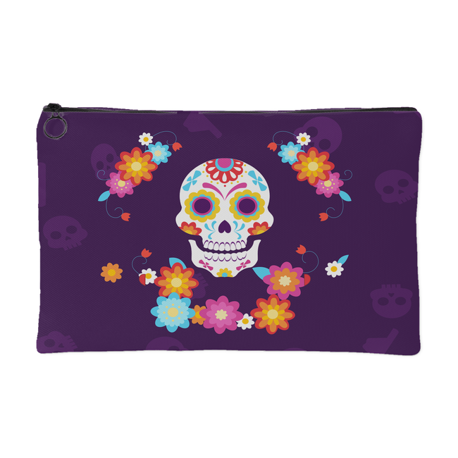 """Kaiya"" - Day Of The Dead Colorful Skull Accessory Pouch, Purple, 2 Sizes - Mind Body Spirit"