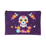 """Kaiya"" - Day Of The Dead Colorful Skull Accessory Pouch, Purple, 2 Sizes"