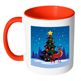 Winter Holiday Tree With Reindeer Mug 11 Oz With Color Glazed Interior In 7 Colors, Coffee Mugs