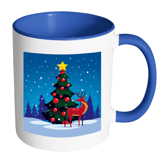 Winter Holiday Tree With Reindeer Mug 11 Oz With Color Glazed Interior In 7 Colors, Coffee Mugs - Mind Body Spirit