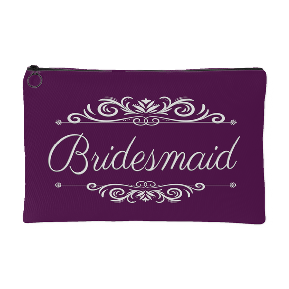 'Grace' Classic Plum Bridesmaid Zippered Makeup, Accessory Pouch, 8 x 5 - Mind Body Spirit