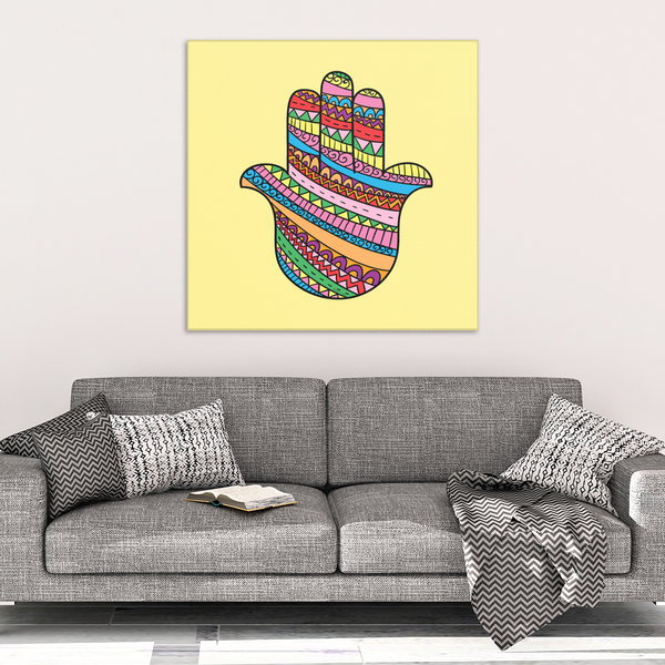 Colorful Spirited Hamsa Canvas Wall Art - Wonderful Protective Symbol in 4 Sizes - Mind Body Spirit