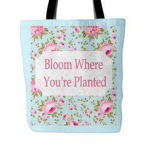 Bloom Where You're Planted  Vintage Look Tote Bag - 18 x 18  Light Teal