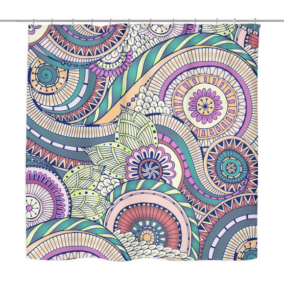 Abstract Swirls Multi-color Shower Curtain 70 x 70 - Mind Body Spirit