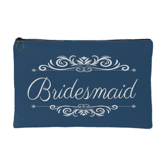 'Grace' Classic Marine Blue Bridesmaid Zippered Makeup, Accessory Pouch, 8 x 5 - Mind Body Spirit