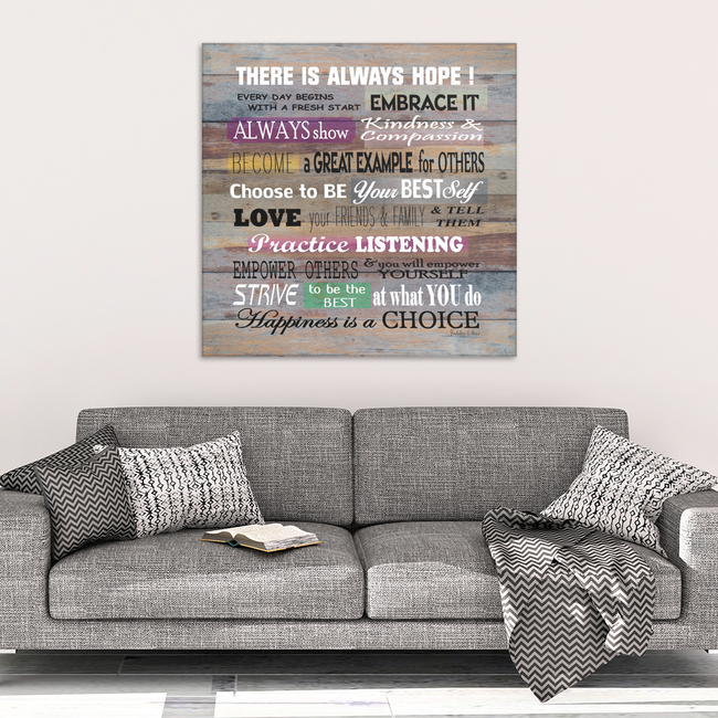 There Is Always Hope Wood Look Canvas Wall Art - Artist Signed, Square in 4 Sizes - Mind Body Spirit