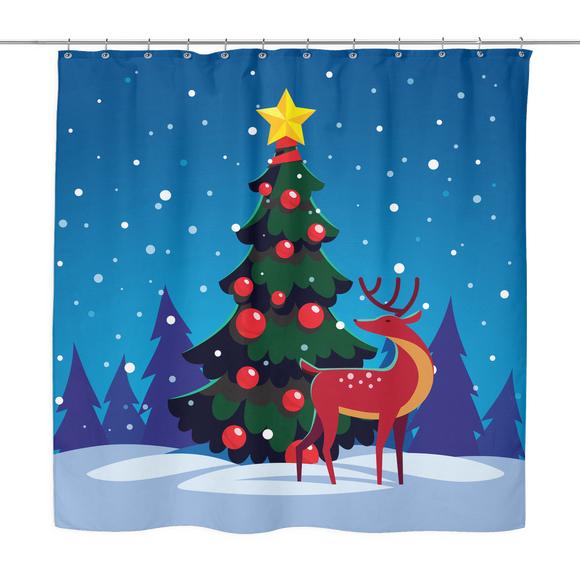 Winter Holiday Tree With Reindeer Shower Curtain 70 x 70