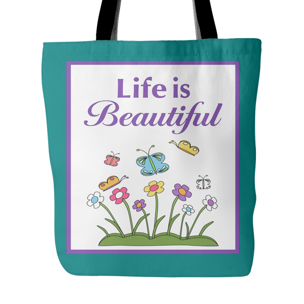 Life Is Beautiful Tote Bag 18 x 18 - White, Purple, Yellow, Teal - Mind Body Spirit