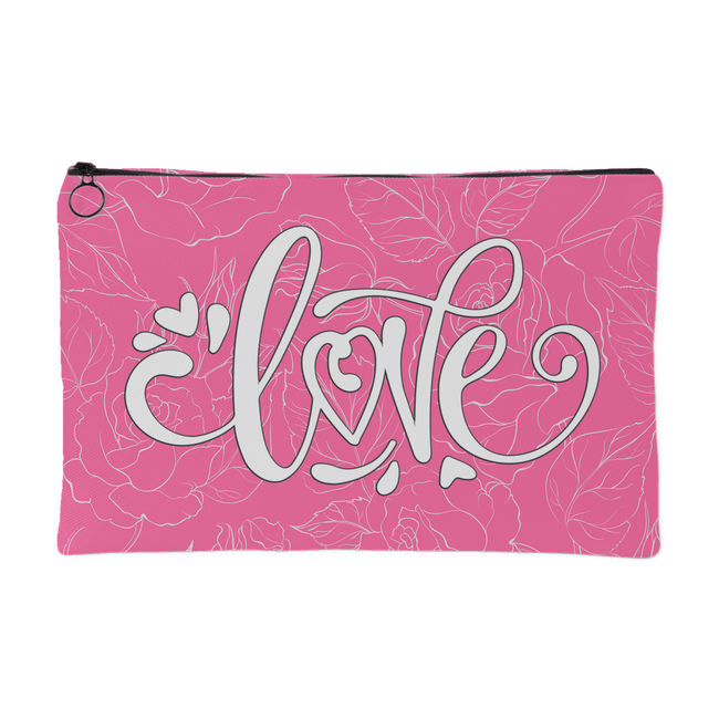 Love and Roses Custom Design Accessory Tote Pink 2 Sizes - Mind Body Spirit