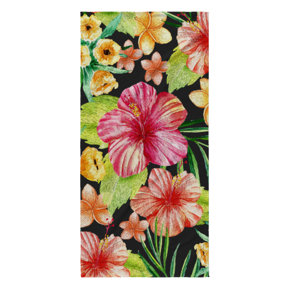 Layla Tropical Flower Designer Beach Towel 30 x 62 - Super Absorbent